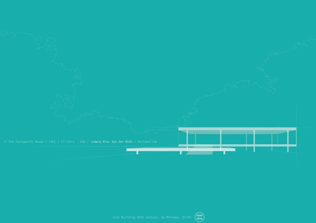 Lámina de arquitectura del siglo xx. Casa Farnsworth.Van der Rohe.  Icono siglo XX