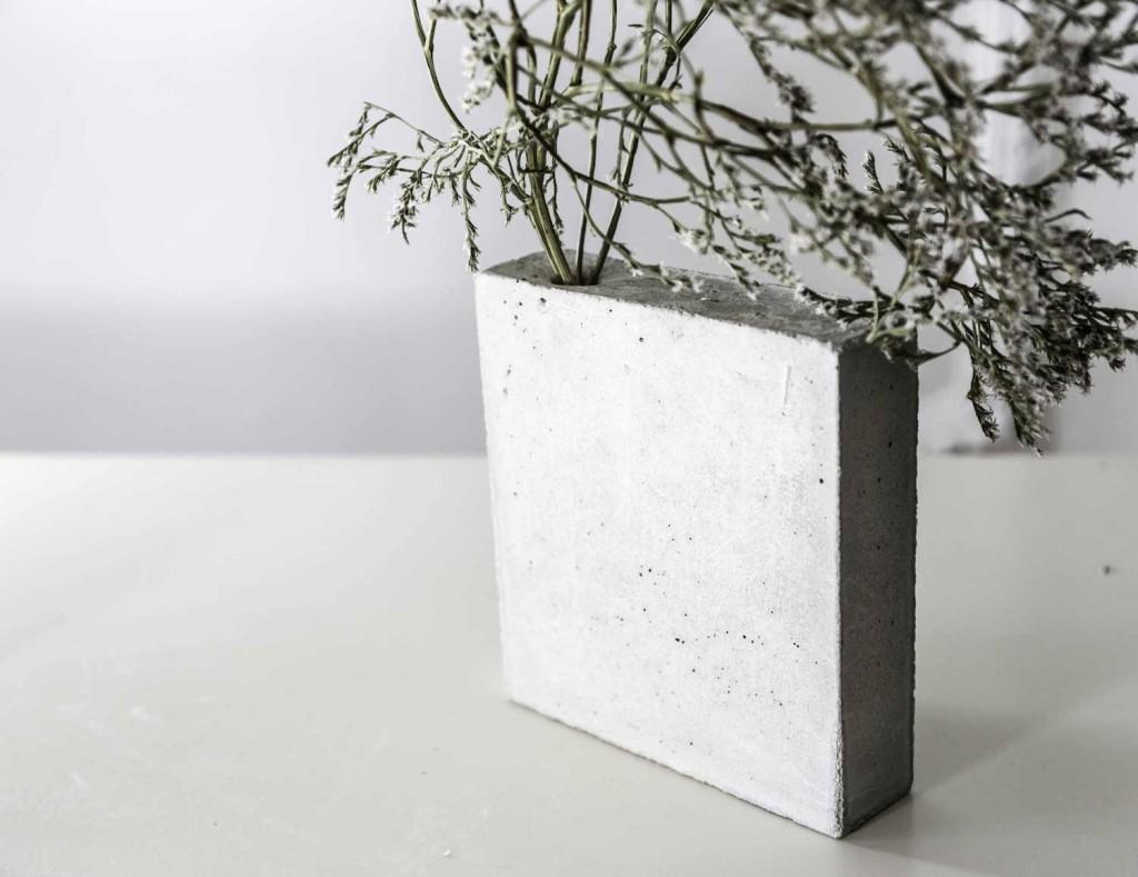 detalle del tiesto de cemento