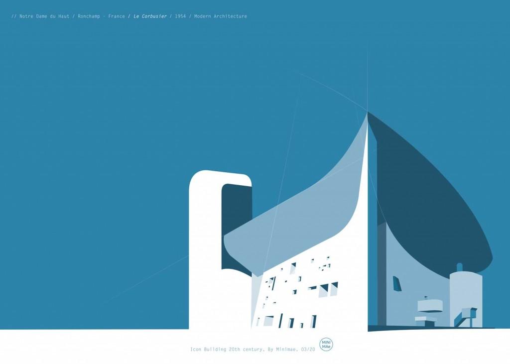Lámina de arquitectura del siglo XX. Capilla de Notre Dame du Haut . Le Corbusier
