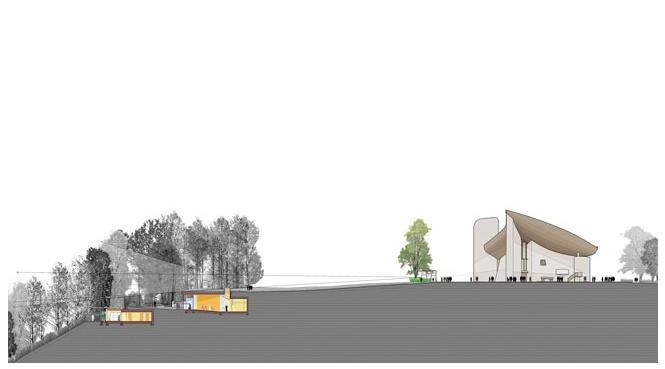 ilustración de la ampliación de Renzo Piano. Notre Dame du Haut