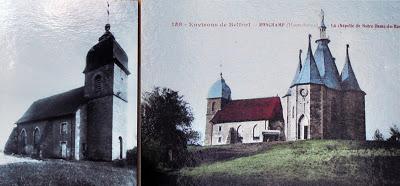 Dos imágenes de la capilla de de Ronchamp