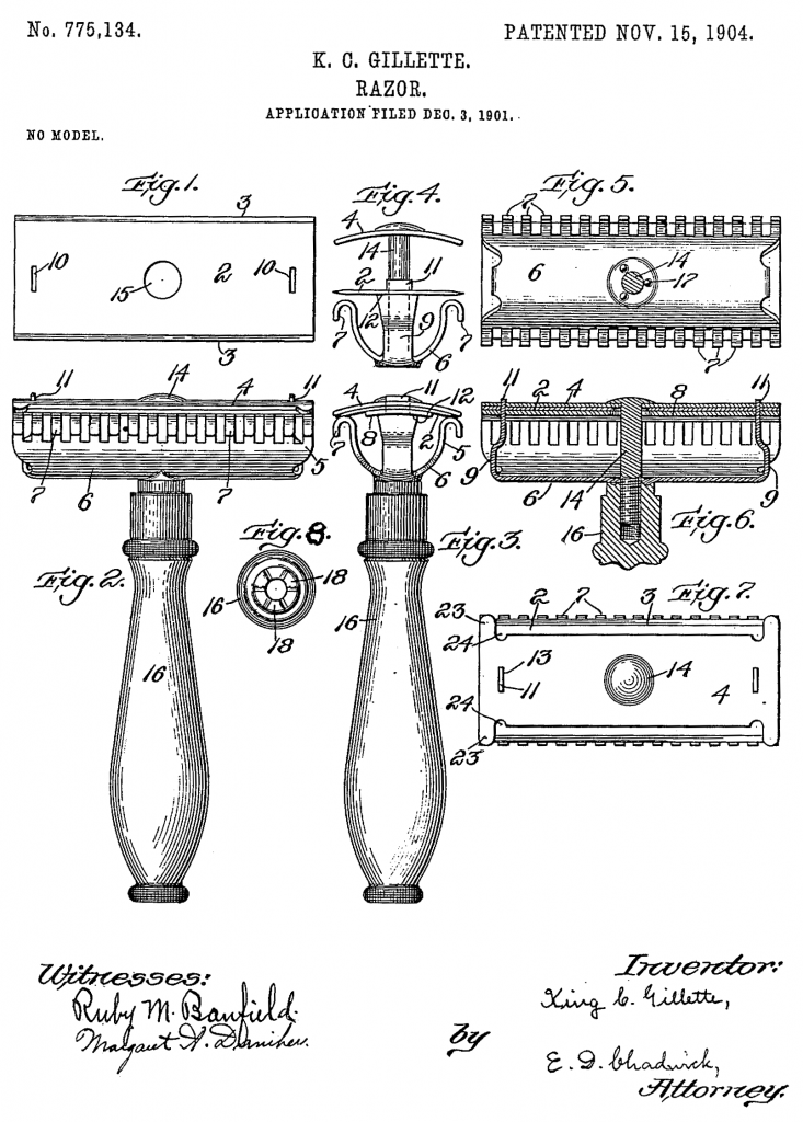 El dibujo de la patente de la maquinilla Gillette es irresistible. 1904