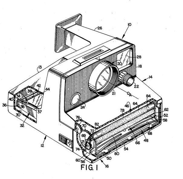 Polaroid SX-70. Lo importante de una patente tan compleja como esta es la búsqueda del más mínimo detalle