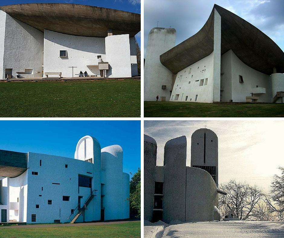 cuatro imágenes exteriores de la capilla de Notre Dame du Haut