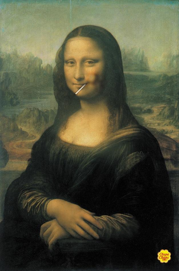 la Mona Lisa Comiéndose un chupa chups