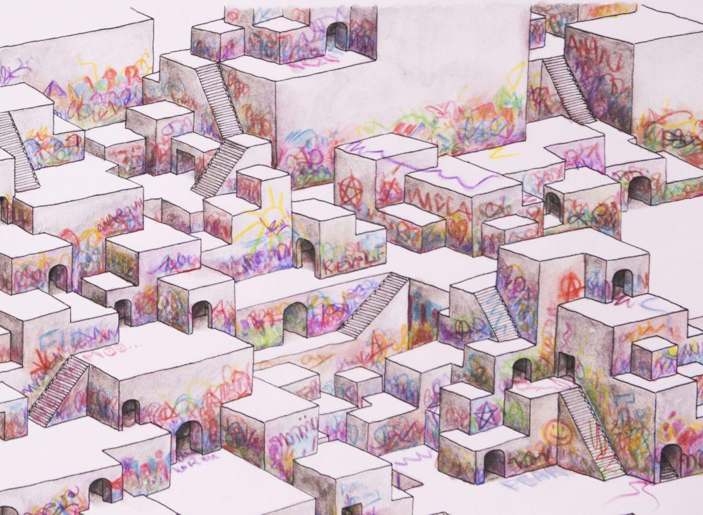 Ninive I detalle de la ciudad asediada por grafiteros